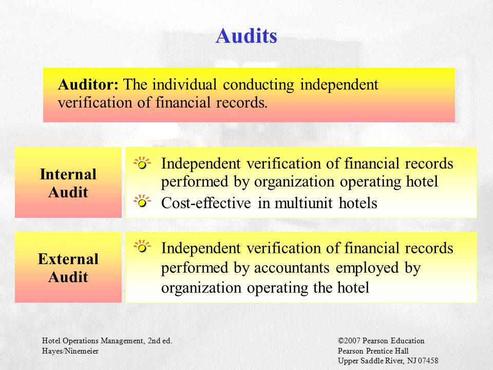 Hotel Operations Management, 2nd ed.©2007 Pearson Education Hayes/NinemeierPearson Prentice Hall Upper Saddle River, NJ 07458 Internal Audit Independe