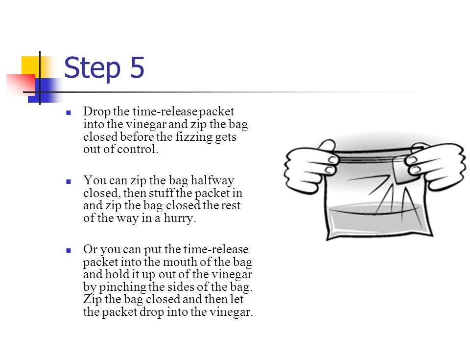 Step 5 Drop the time-release packet into the vinegar and zip the bag closed before the fizzing gets out of control.