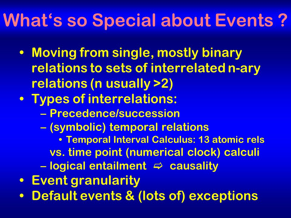 20 What's so Special about Events .