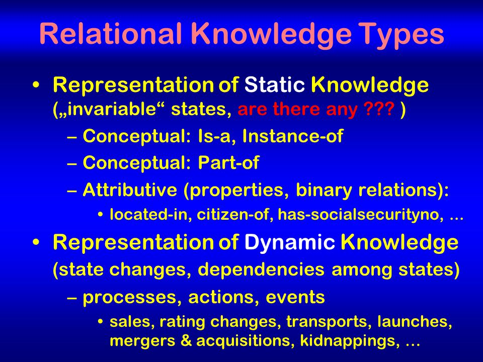 "3 Relational Knowledge Types Representation of Static Knowledge (""invariable states, are there any ."