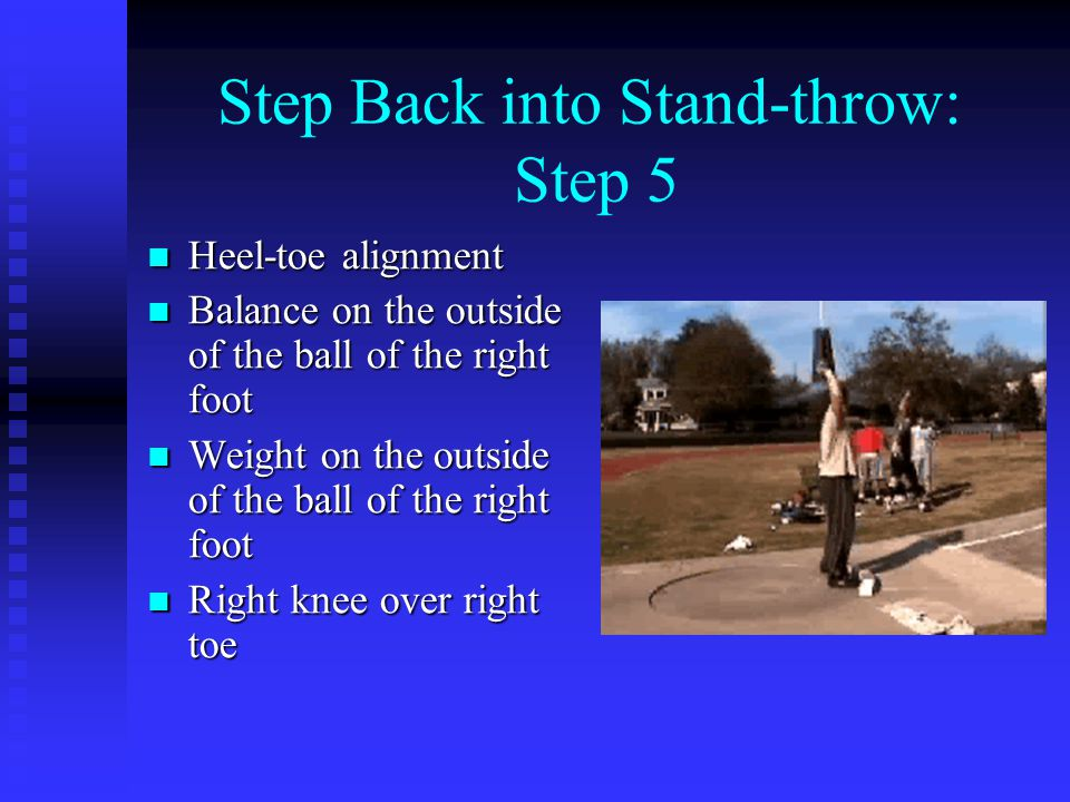 Step Back into Stand-throw: Step 5 Heel-toe alignment Heel-toe alignment Balance on the outside of the ball of the right foot Balance on the outside of the ball of the right foot Weight on the outside of the ball of the right foot Weight on the outside of the ball of the right foot Right knee over right toe Right knee over right toe