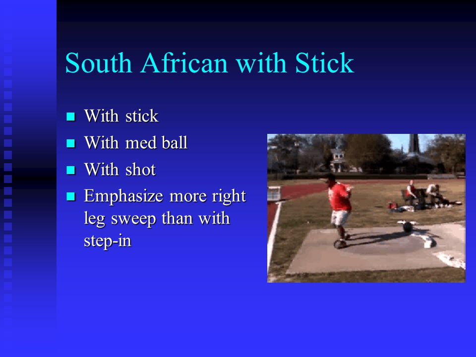 South African with Stick With stick With stick With med ball With med ball With shot With shot Emphasize more right leg sweep than with step-in Emphasize more right leg sweep than with step-in