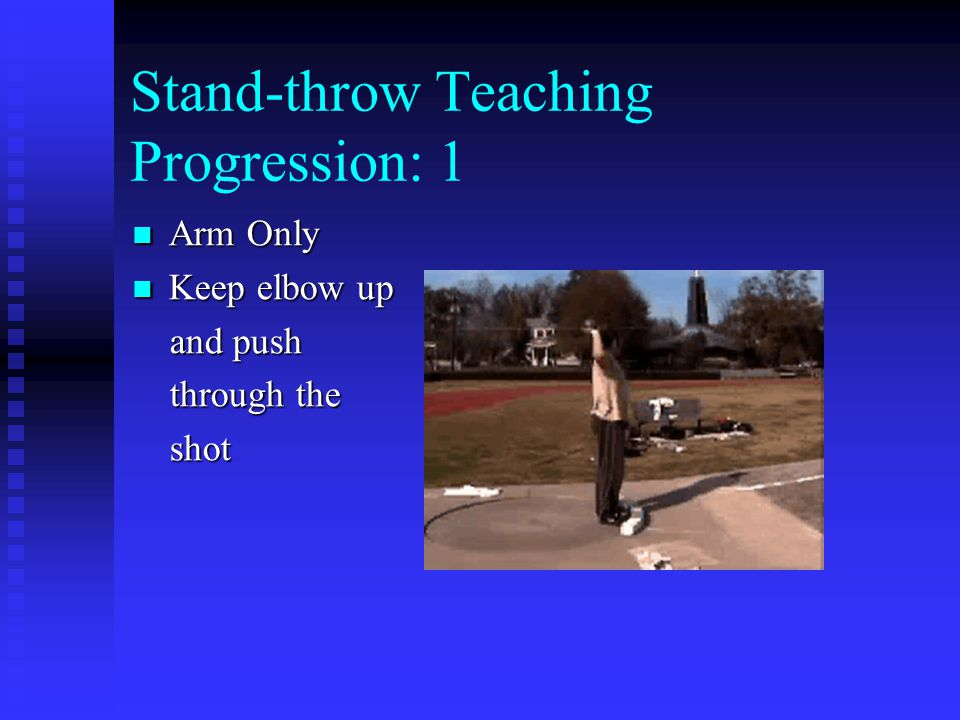 Stand-throw Teaching Progression: 1 Arm Only Arm Only Keep elbow up Keep elbow up and push and push through the through the shot shot