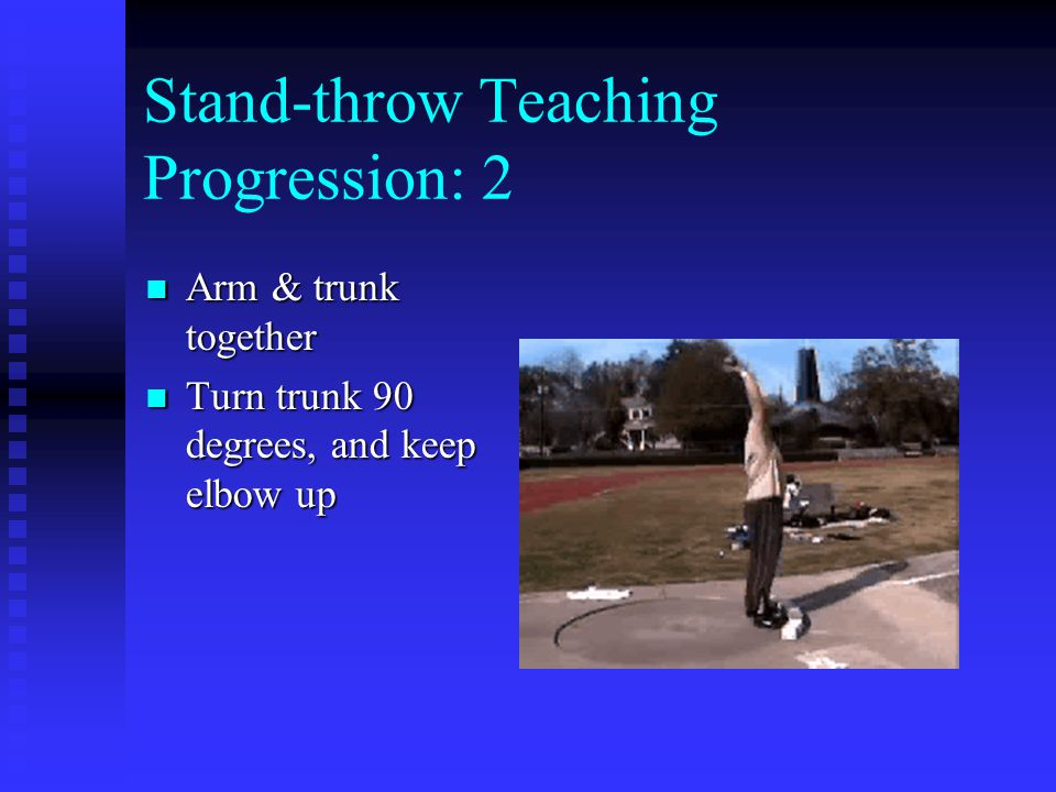 Stand-throw Teaching Progression: 2 Arm & trunk together Arm & trunk together Turn trunk 90 degrees, and keep elbow up Turn trunk 90 degrees, and keep elbow up