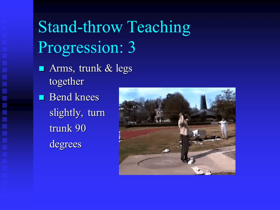 Stand-throw Teaching Progression: 4 Same as step three but more explosive Same as step three but more explosive Jump into throw Jump into throw