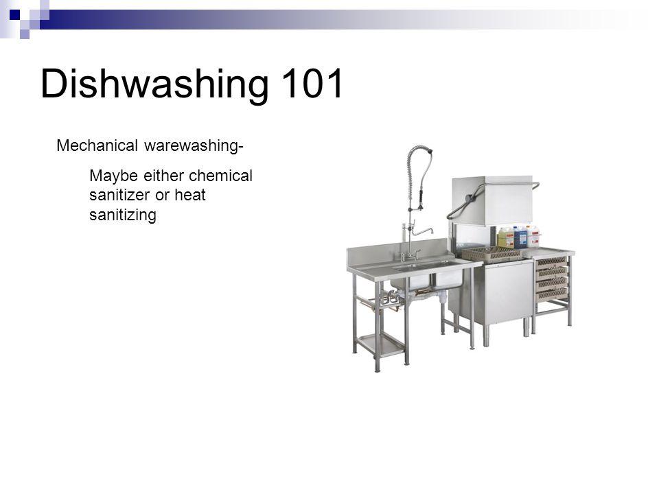 Dishwashing 101 Mechanical warewashing- Maybe either chemical sanitizer or heat sanitizing