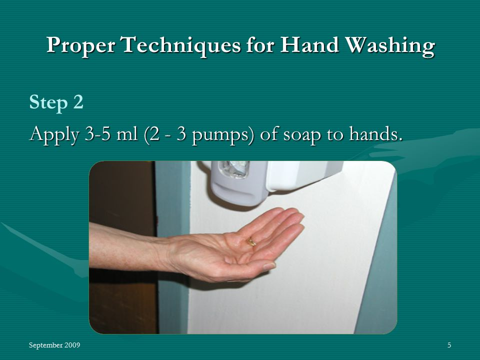 September 20095 Proper Techniques for Hand Washing Step 2 Apply 3-5 ml (2 - 3 pumps) of soap to hands.