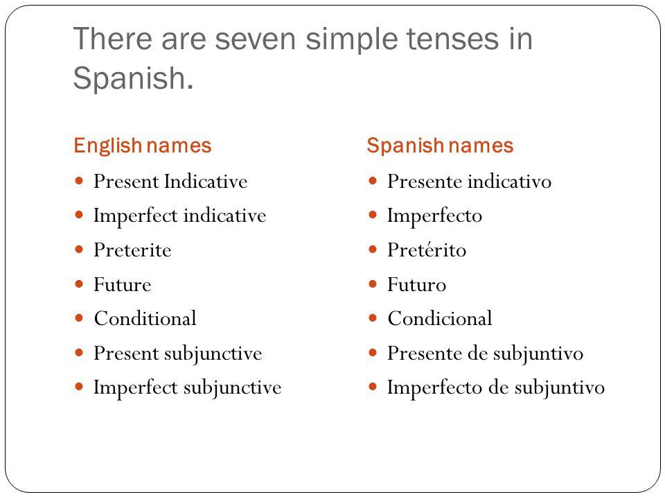 There are seven simple tenses in Spanish. English namesSpanish names Present Indicative Imperfect indicative Preterite Future Conditional Present subj