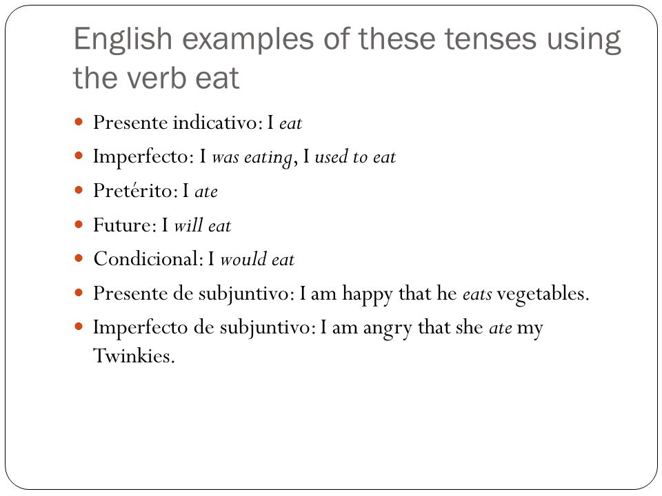 English examples of these tenses using the verb eat Presente indicativo: I eat Imperfecto: I was eating, I used to eat Pretérito: I ate Future: I will