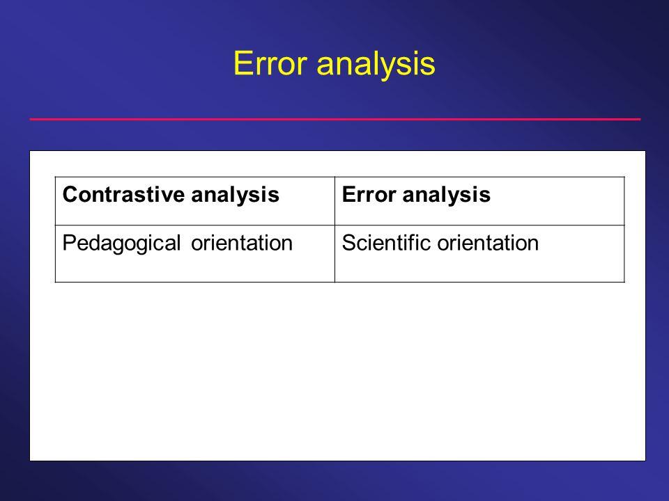 Error analysis Contrastive analysisError analysis Pedagogical orientationScientific orientation
