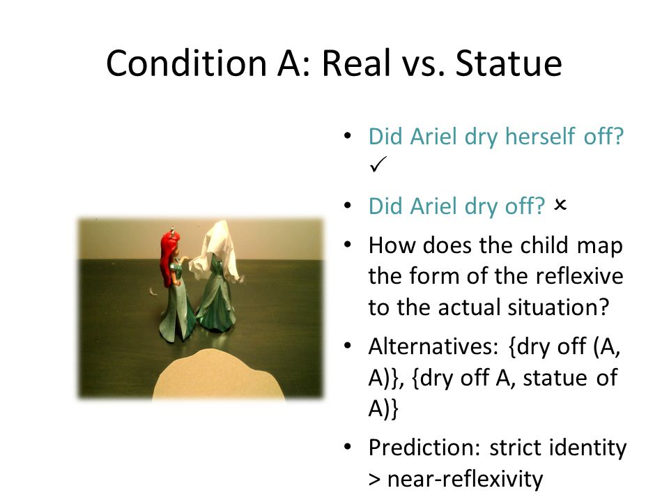 Condition A: Real vs. Statue Did Ariel dry herself off.