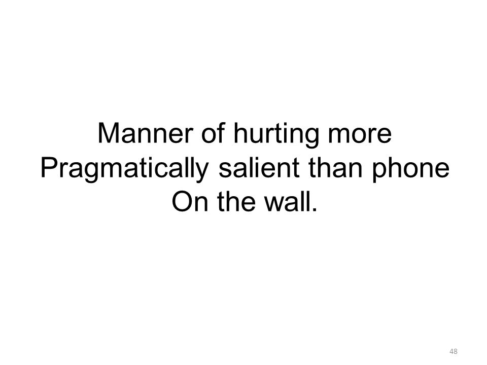48 Manner of hurting more Pragmatically salient than phone On the wall.