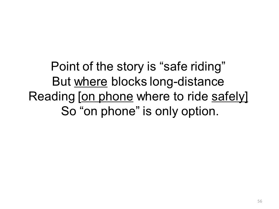 56 Point of the story is safe riding But where blocks long-distance Reading [on phone where to ride safely] So on phone is only option.