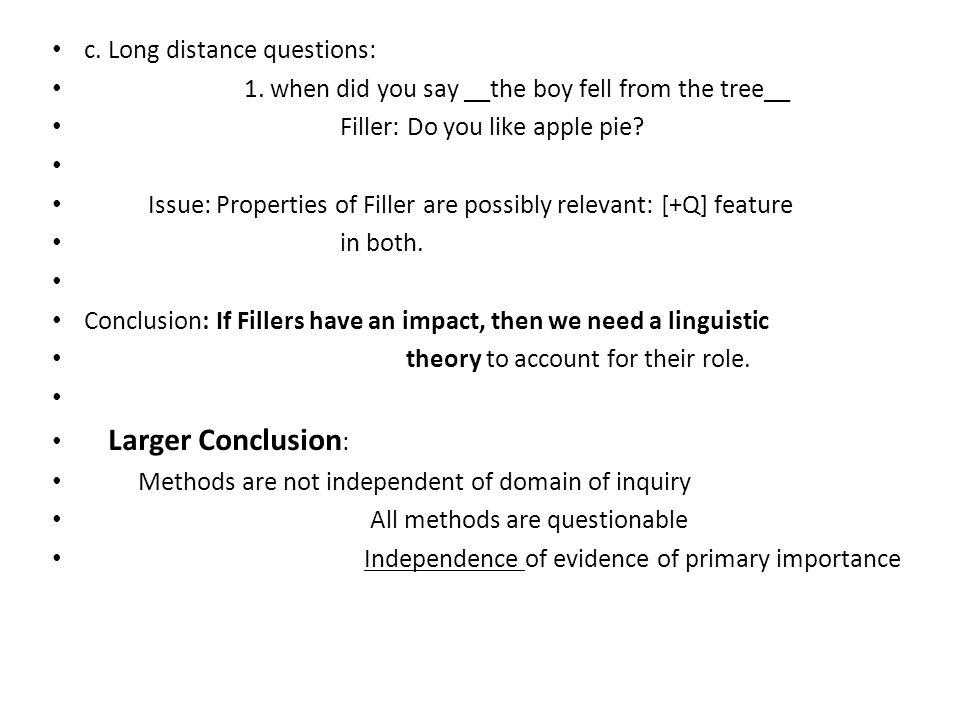 c. Long distance questions: 1.