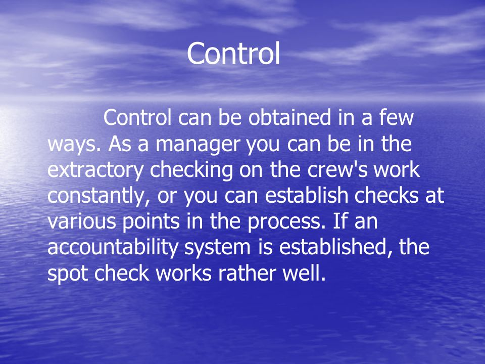 Control Control can be obtained in a few ways.