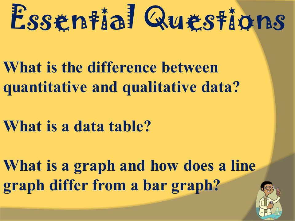 Essential Questions What is the difference between quantitative and qualitative data.