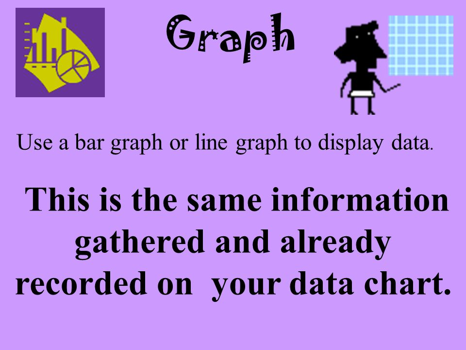 Graph Use a bar graph or line graph to display data.