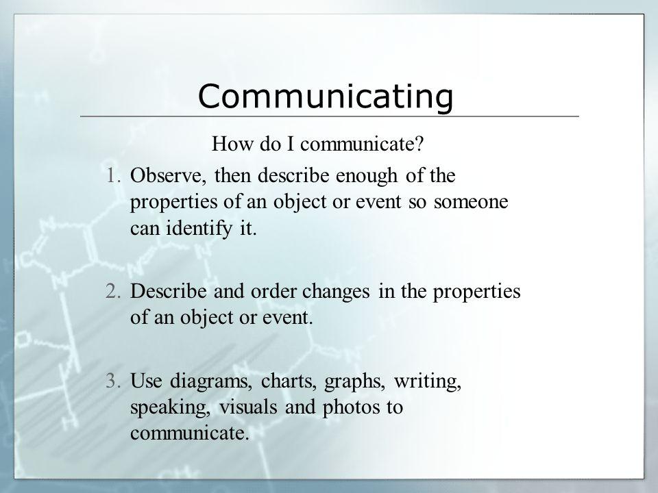 Communicating How do I communicate.
