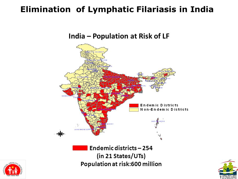 3 ELIMINATION OF LYMPHATIC FILARIASIS Elimination of LF : LF ceases to be a public health problem, when the number of microfilaria carriers is less than 1% and the children born after initiation of ELF are free from circulating antigenaemia Goal: The National Health Policy (2002) has set the goal of Elimination of Lymphatic Filariasis in India by 2015.