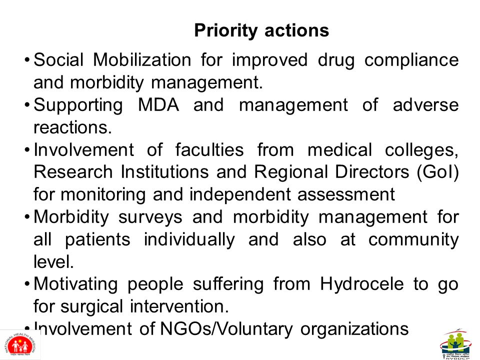 Social Mobilization for improved drug compliance and morbidity management.