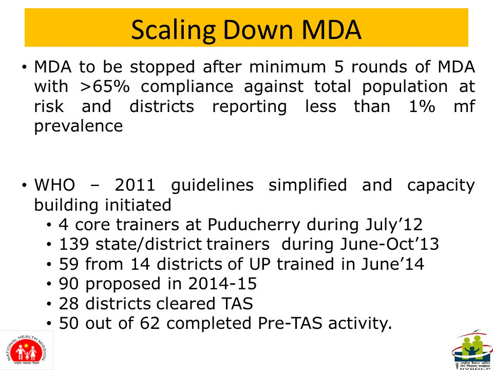 JMM Action Points(4) Post MDA surveillance to be performed as per guidelines – at least two TAS after every 2-3 years.