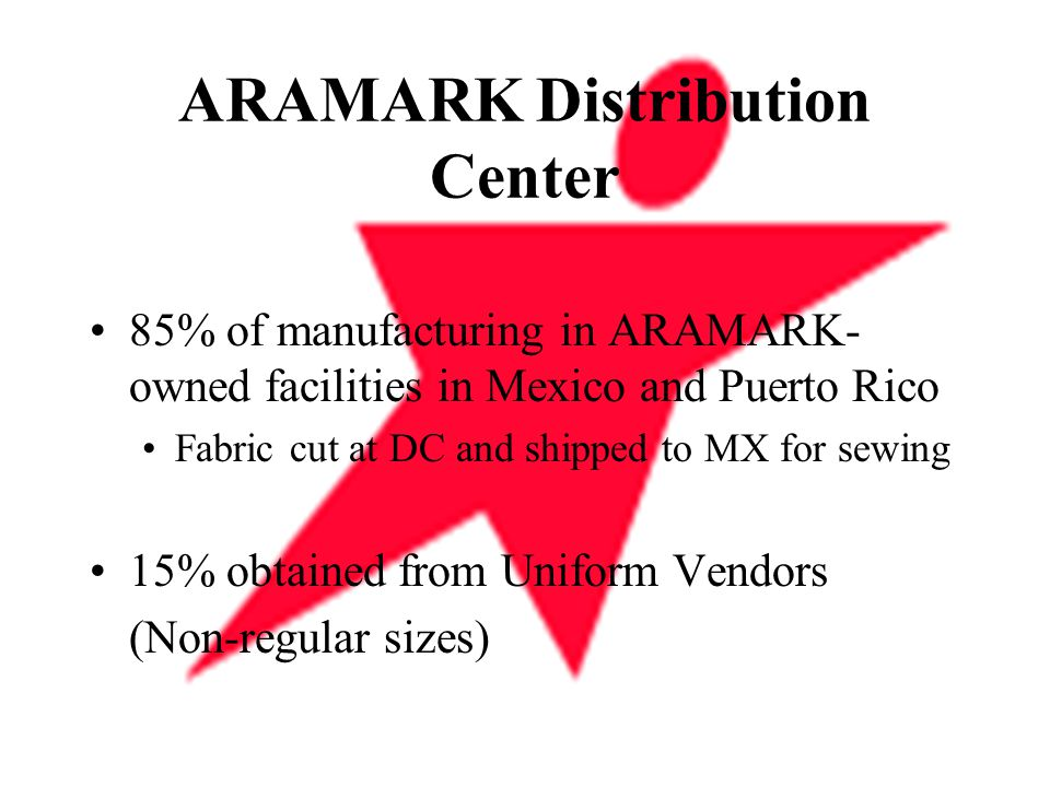 ARAMARK Distribution Center 85% of manufacturing in ARAMARK- owned facilities in Mexico and Puerto Rico Fabric cut at DC and shipped to MX for sewing 15% obtained from Uniform Vendors (Non-regular sizes)