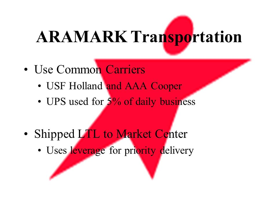 ARAMARK Transportation Use Common Carriers USF Holland and AAA Cooper UPS used for 5% of daily business Shipped LTL to Market Center Uses leverage for priority delivery