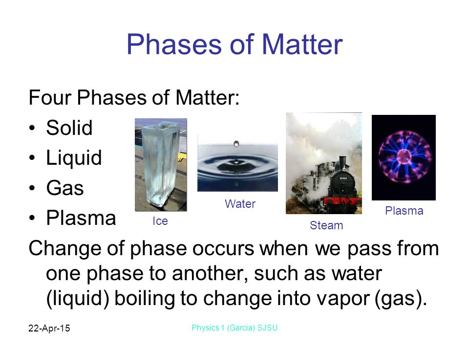 22-Apr-15 Physics 1 (Garcia) SJSU Phases of Matter Four Phases of Matter: Solid Liquid Gas Plasma Change of phase occurs when we pass from one phase to another, such as water (liquid) boiling to change into vapor (gas).