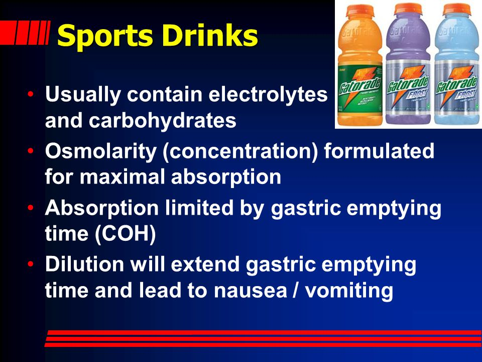 Hydration and Prehydration Firefighters are often dehydrated Prehydrate for planned activities: –500 ml fluid within 2 hours prior to event Hydrate during events: –Water appropriate most of the time –Sports drinks after first hour of intense work or 3 hours total incident duration Best to consume small amounts (60- 120 ml) very frequently - Typical gastric emptying time limits fluid intake to no more than 1 liter per hour.