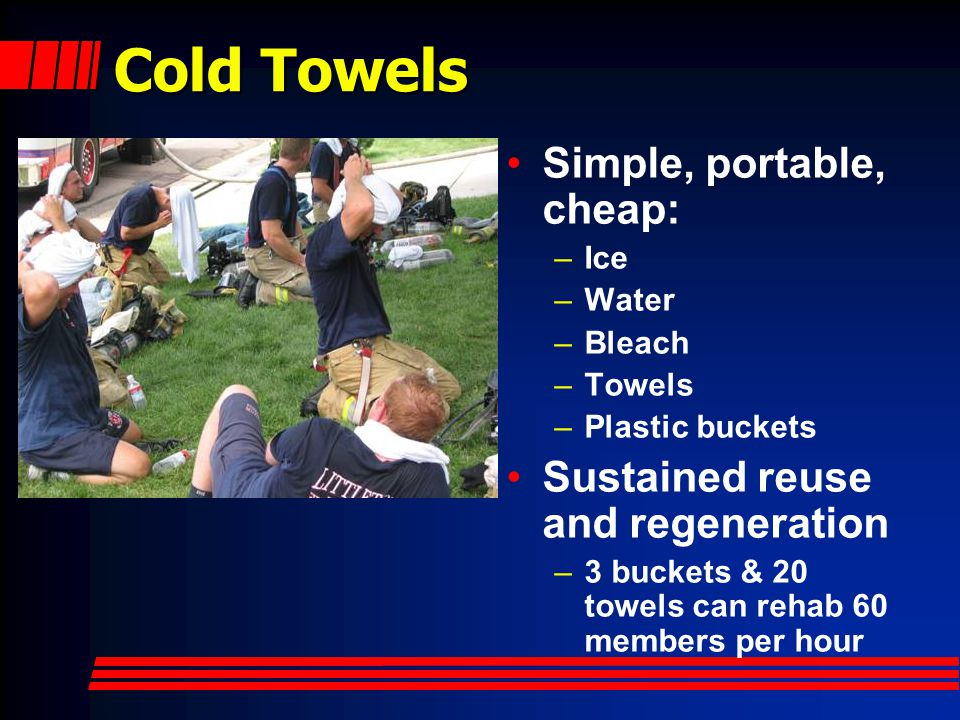Cold Towels Temperature and moisture are controllable –Damp towel holds 500g of water Surface area and location cooled are user controlled Strong psychologic appeal