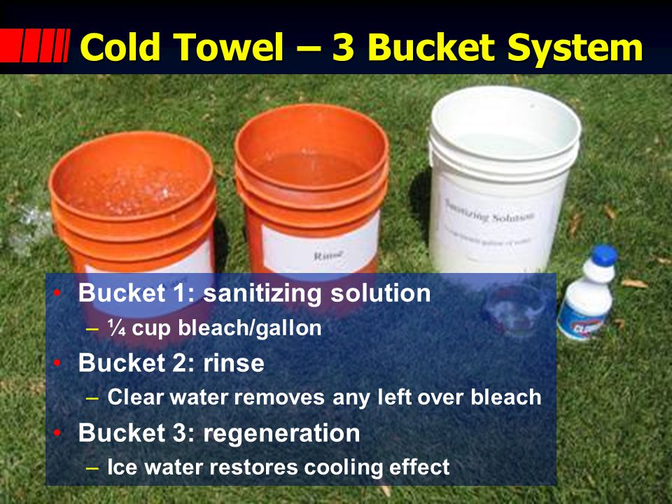 Cold Towels Simple, portable, cheap: –Ice –Water –Bleach –Towels –Plastic buckets Sustained reuse and regeneration –3 buckets & 20 towels can rehab 60 members per hour