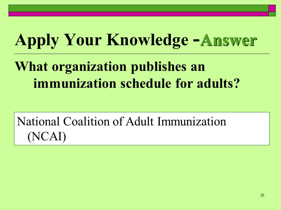 35 Apply Your Knowledge What organization publishes immunization schedules for adults