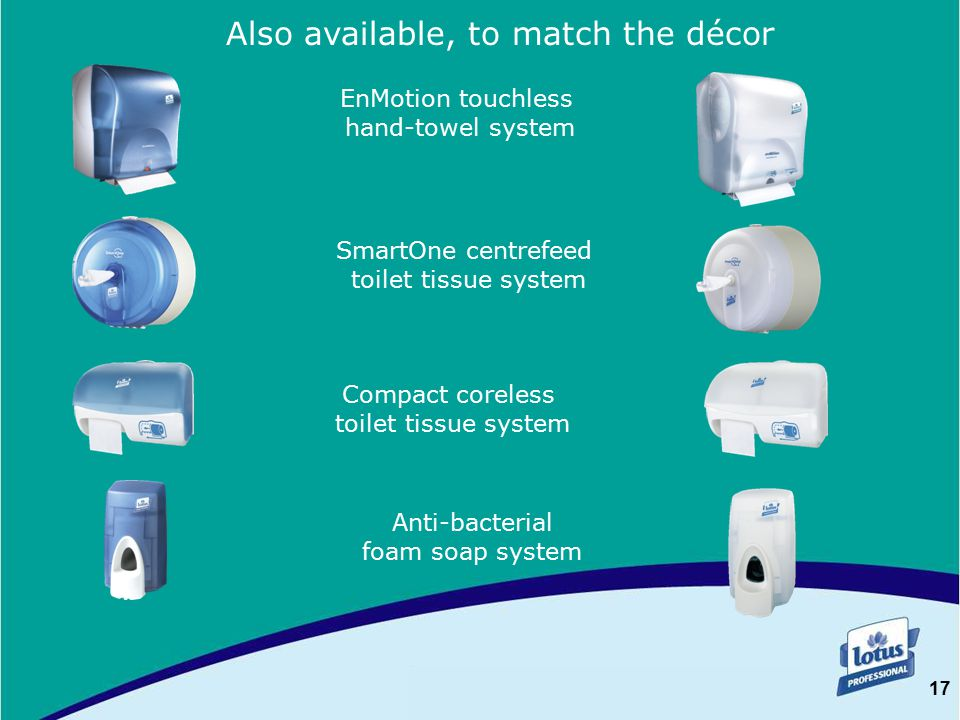 17 SYNTHÈSE Also available, to match the décor EnMotion touchless hand-towel system SmartOne centrefeed toilet tissue system Compact coreless toilet tissue system Anti-bacterial foam soap system