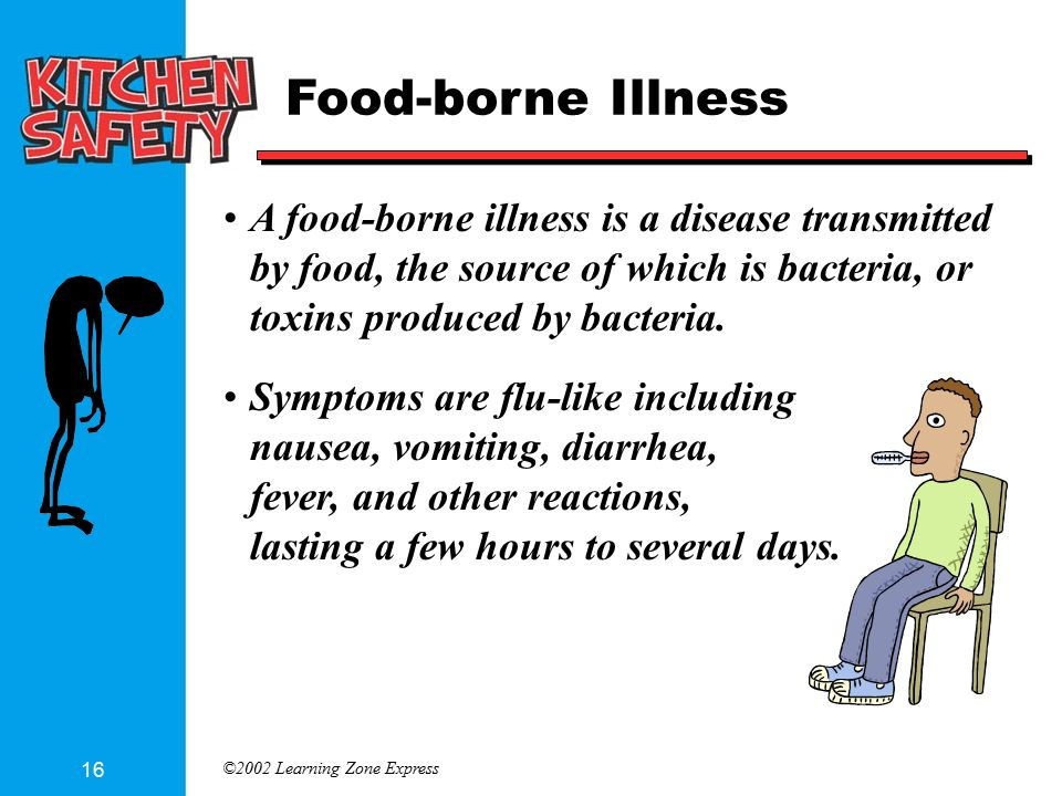 ©2002 Learning Zone Express 16 Food-borne Illness A food-borne illness is a disease transmitted by food, the source of which is bacteria, or toxins produced by bacteria.