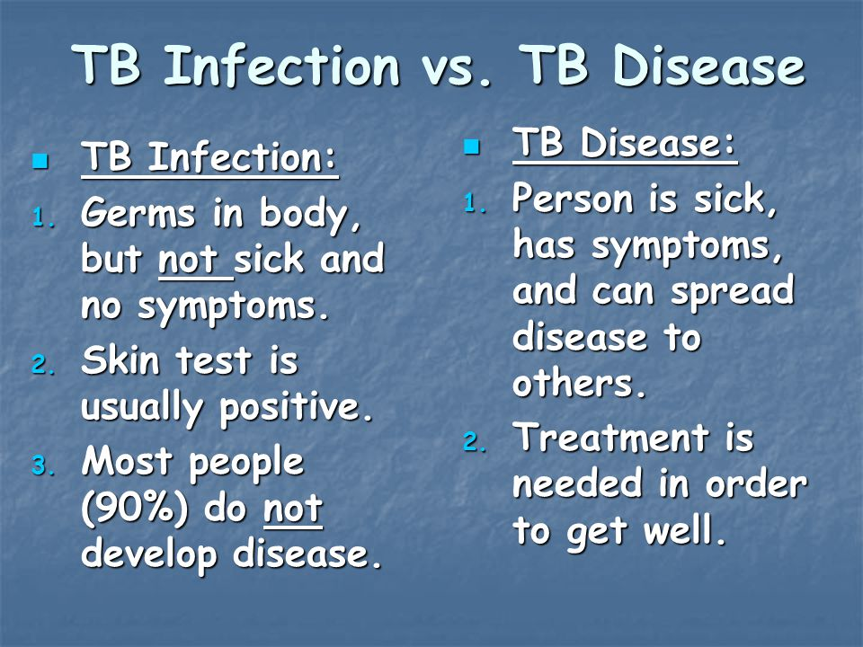 TB Infection vs. TB Disease TB Infection: TB Infection: 1.