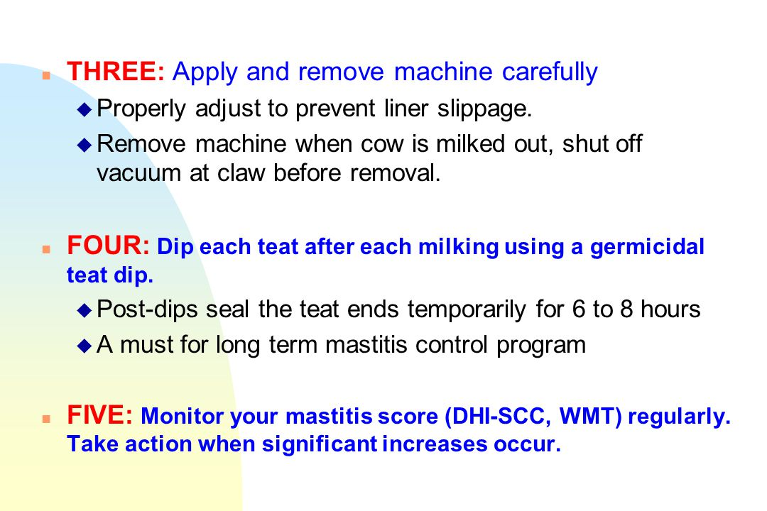 n THREE: Apply and remove machine carefully u Properly adjust to prevent liner slippage. u Remove machine when cow is milked out, shut off vacuum at c