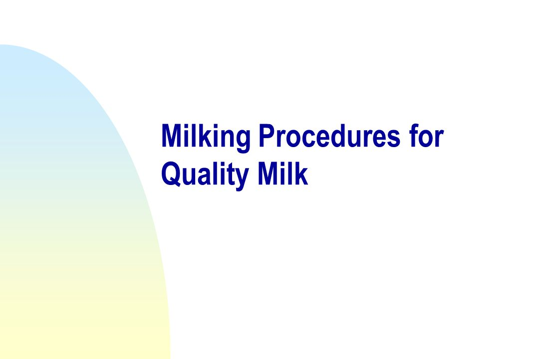Milking Procedures for Quality Milk