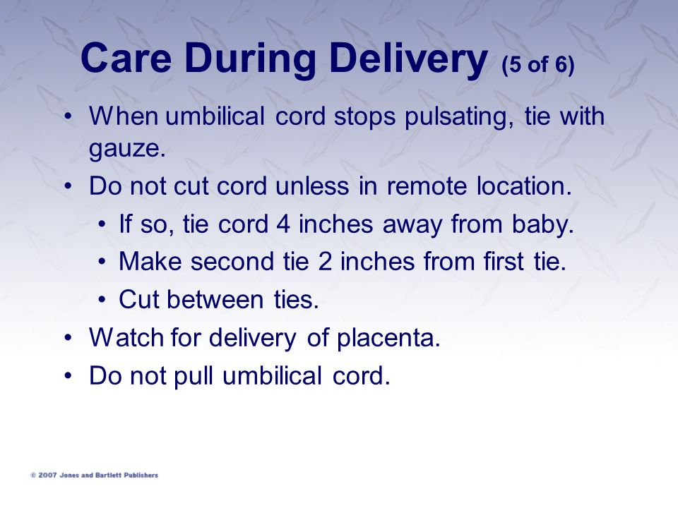 Care During Delivery (5 of 6) When umbilical cord stops pulsating, tie with gauze. Do not cut cord unless in remote location. If so, tie cord 4 inches