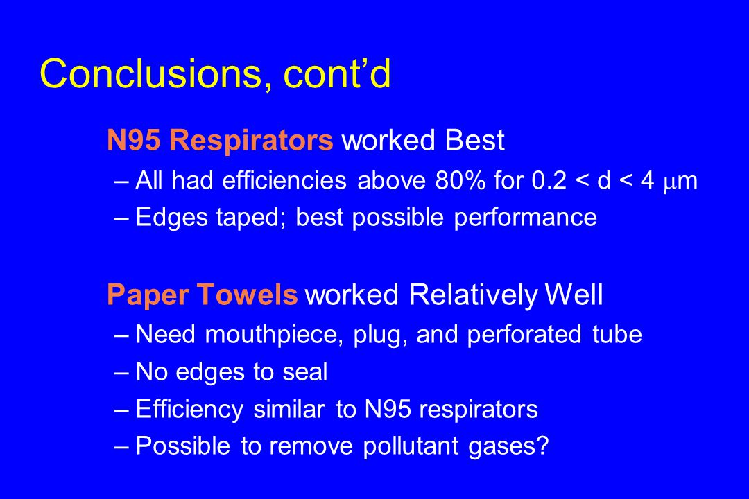 Conclusions, cont'd u N95 Respirators worked Best –All had efficiencies above 80% for 0.2 < d < 4  m –Edges taped; best possible performance u Paper Towels worked Relatively Well –Need mouthpiece, plug, and perforated tube –No edges to seal –Efficiency similar to N95 respirators –Possible to remove pollutant gases