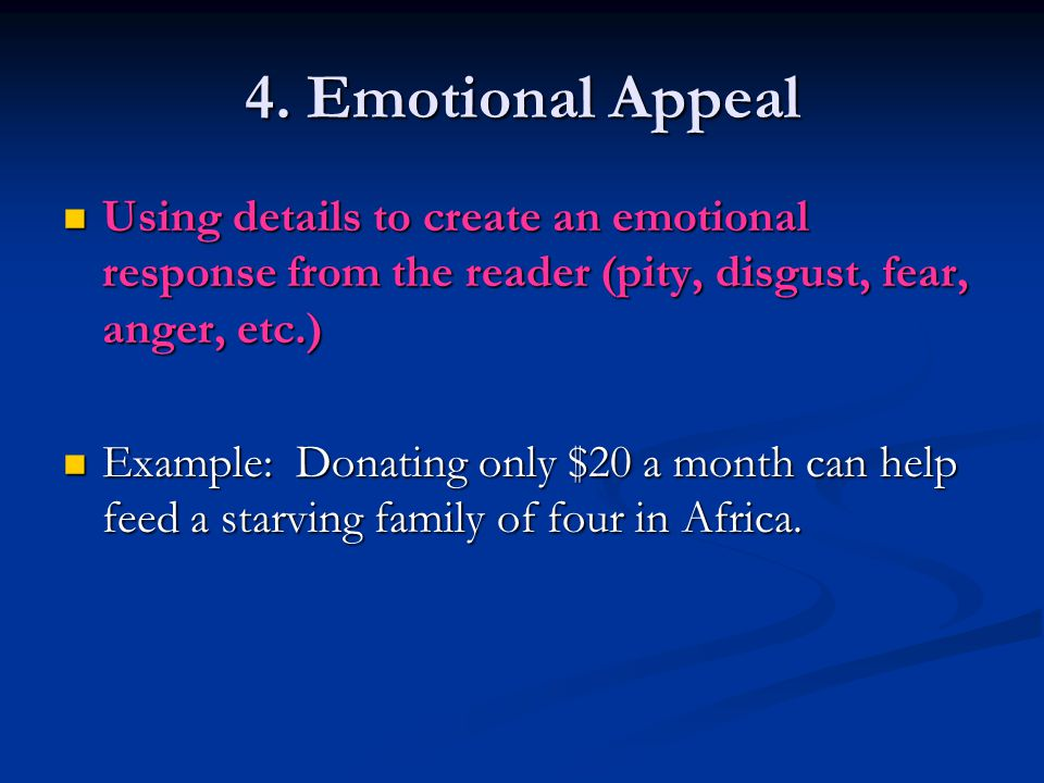 3. Logical Appeal An appeal to a reader's sense of logic, and what