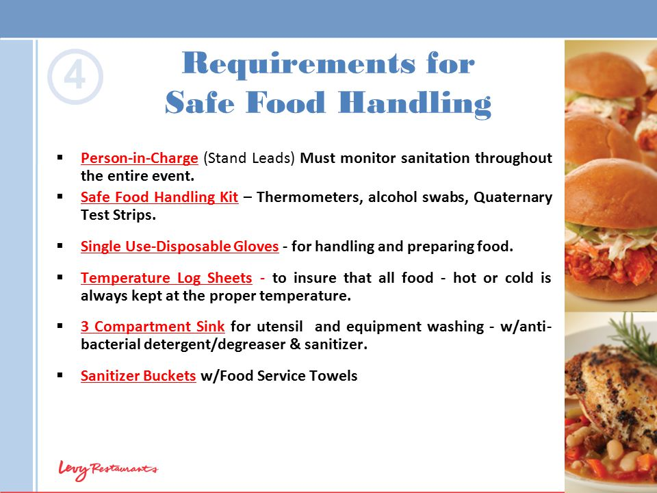  Person-in-Charge (Stand Leads) Must monitor sanitation throughout the entire event.  Safe Food Handling Kit – Thermometers, alcohol swabs, Quaterna