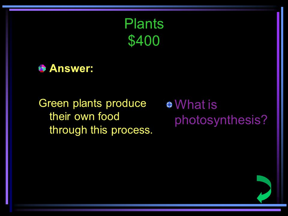 Plants $400 Answer: Green plants produce their own food through this process.