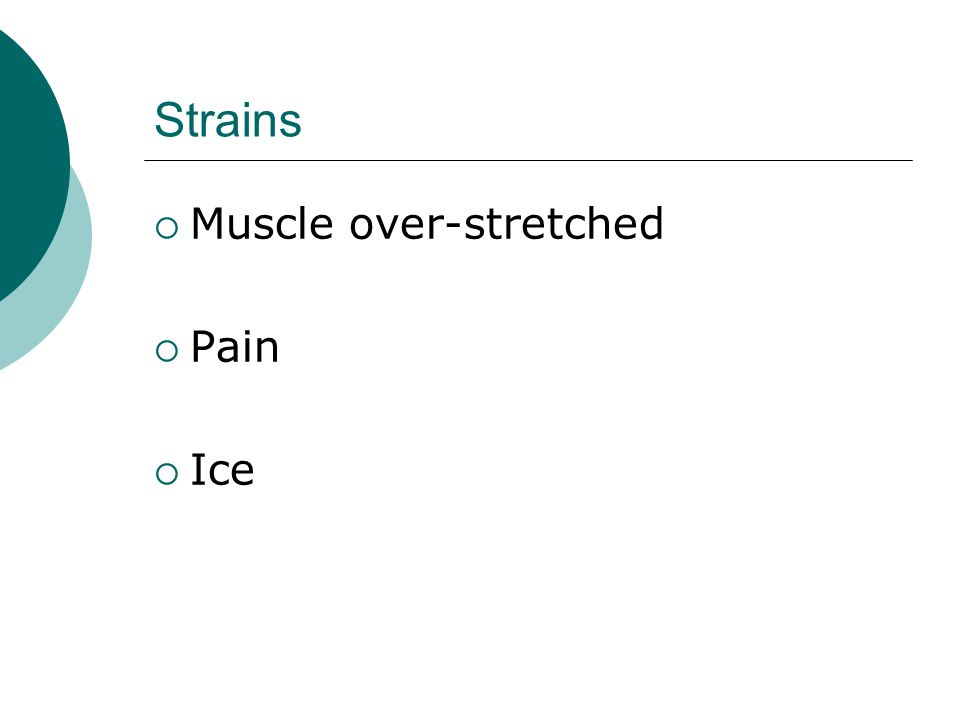 Strains  Muscle over-stretched  Pain  Ice