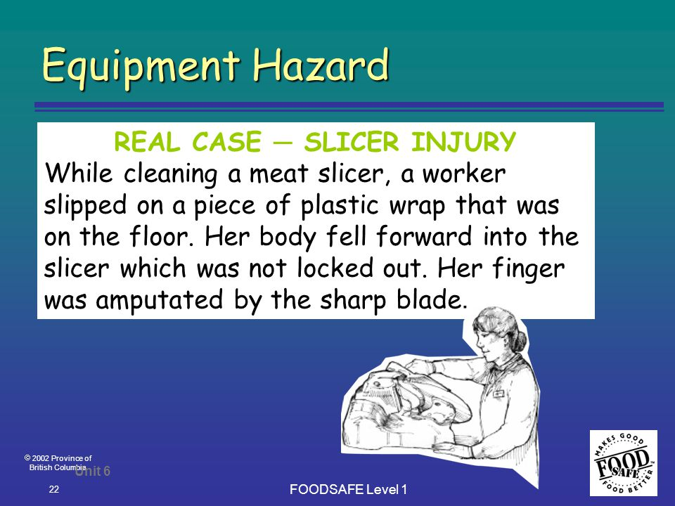  2002 Province of British Columbia FOODSAFE Level 1 22 Equipment Hazard Unit 6 REAL CASE ─ SLICER INJURY While cleaning a meat slicer, a worker slipped on a piece of plastic wrap that was on the floor.