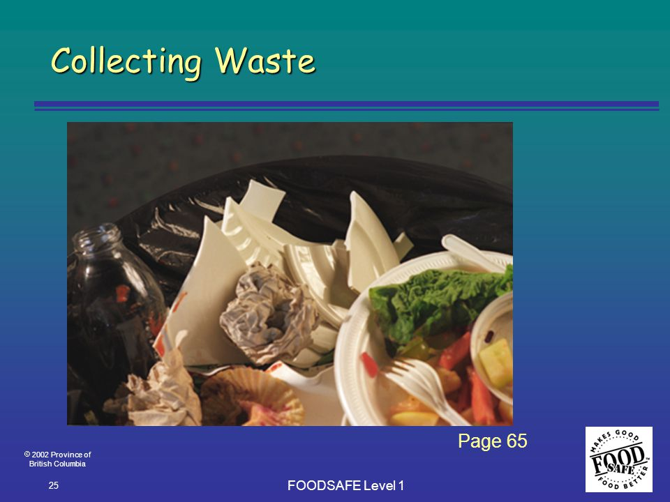  2002 Province of British Columbia FOODSAFE Level 1 25 Collecting Waste Page 65
