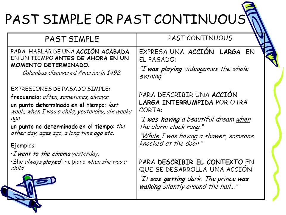 PAST SIMPLE OR PAST CONTINUOUS PAST SIMPLE PAST CONTINUOUS PARA HABLAR DE UNA ACCIÓN ACABADA EN UN TIEMPO ANTES DE AHORA EN UN MOMENTO DETERMINADO. Co