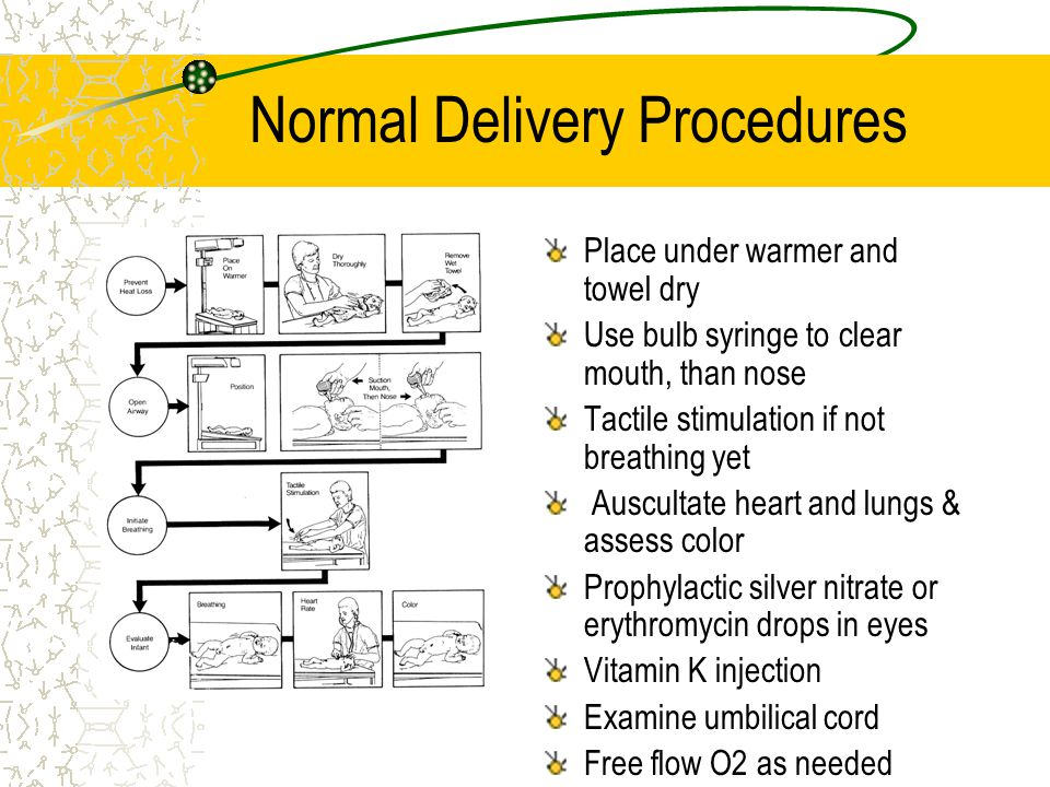 Normal Delivery Procedures Place under warmer and towel dry Use bulb syringe to clear mouth, than nose Tactile stimulation if not breathing yet Auscultate heart and lungs & assess color Prophylactic silver nitrate or erythromycin drops in eyes Vitamin K injection Examine umbilical cord Free flow O2 as needed