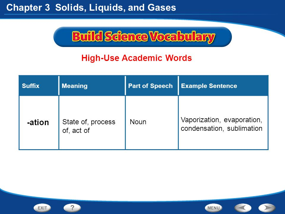 Chapter 3 Solids, Liquids, and Gases High-Use Academic Words SuffixMeaningPart of SpeechExample Sentence -ation State of, process of, act of Noun Vapo