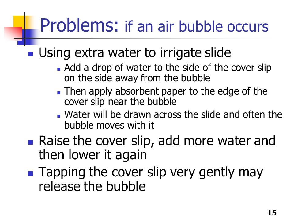 15 Problems: if an air bubble occurs Using extra water to irrigate slide Add a drop of water to the side of the cover slip on the side away from the bubble Then apply absorbent paper to the edge of the cover slip near the bubble Water will be drawn across the slide and often the bubble moves with it Raise the cover slip, add more water and then lower it again Tapping the cover slip very gently may release the bubble