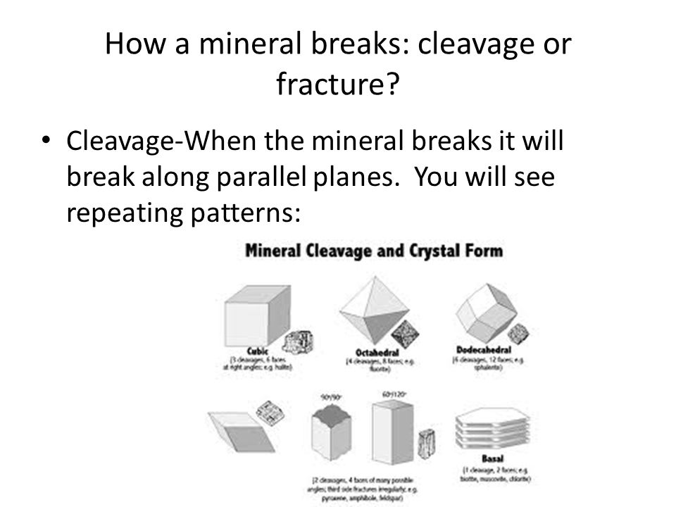 How a mineral breaks: cleavage or fracture.